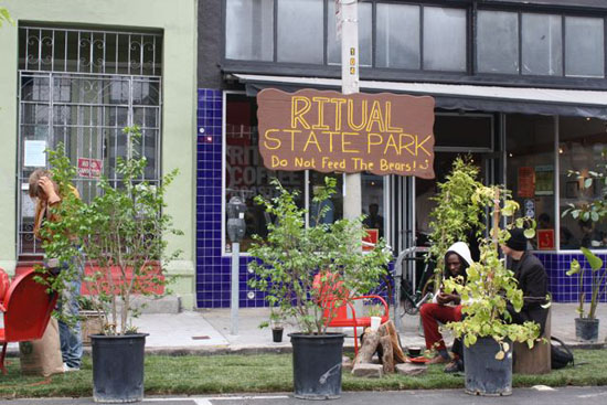 "The parking spaces in front of Ritual Coffee Roasters were transformed into ""Ritual State Park."" Photos by Bryan Goebel."