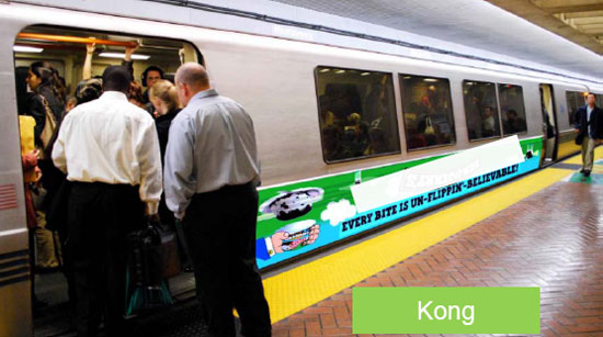 "A partial train wrap, known as a ""Kong,"" could bring in additional revenue for BART. Image BART."