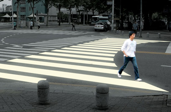 A crosswalk that better reflects pedestrian crossing patterns