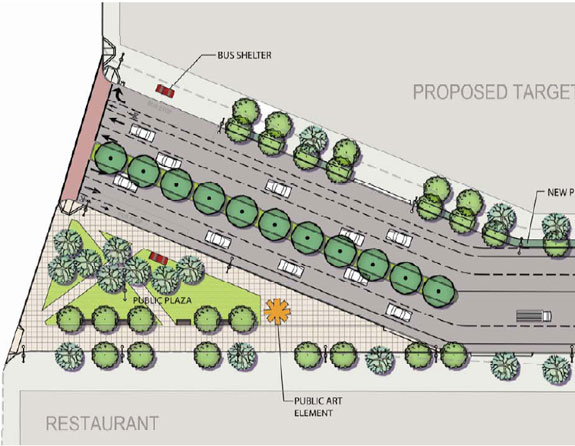 This new plaza would be installed at Geary and Masonic boulevards. Image: SF Planning Department.
