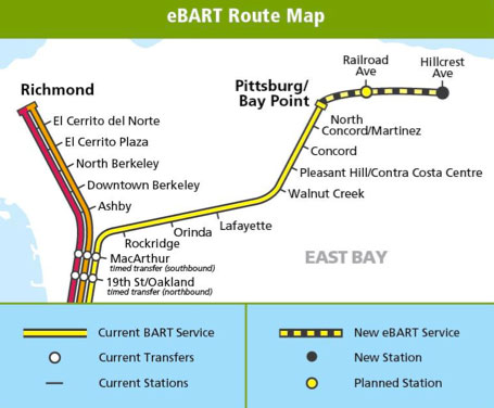 eBART route map. Image: BART