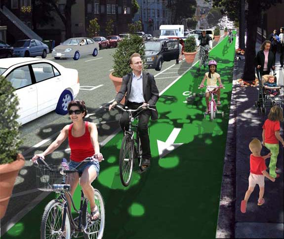 The current bike lane on Fell Street would be transformed into a curbside cycletrack. Image: RG Architecture for SFBC.