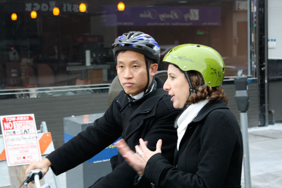 Board of Supervisors and Acting Mayor David Chiu took a bike ride to City Hall with some advocates this morning. On right is SFBC Executive Director Leah Shahum, back from her sabbatical in Amsterdam. Photo: Bryan Goebel
