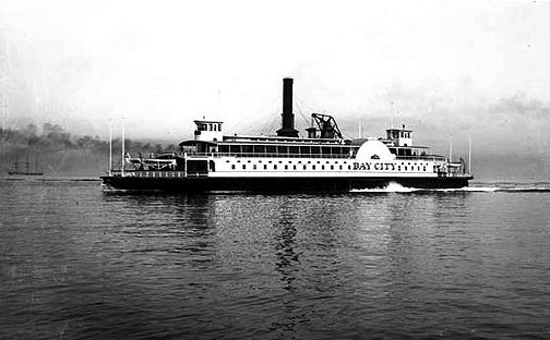 The Southern Pacific Company's Bay City ferry plies the waters of San Francisco Bay sometime between 1870 and 1900