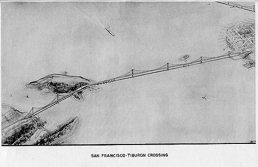 A rendering of a planned bridge from San Francisco north across Angel Island and through Tiburon. (Thanks to Eric Fischer for making these available on his Flickr page.)