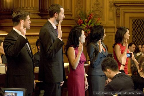 Supervisors Mark Farrell, Scott Weiner, Jane Kim, Malia Cohen and Carmen Chu are sworn into office. Photo: Luke Thomas, ##http://www.fogcityjournal.com/wordpress/##Fog City Journal##