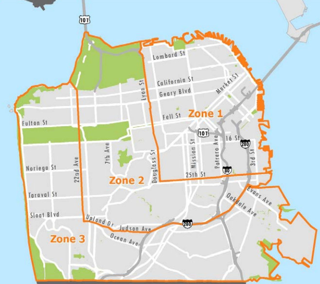 San Francisco Street Parking Map Street Parking in SF: Fees for Car Share, Free for Car Owners