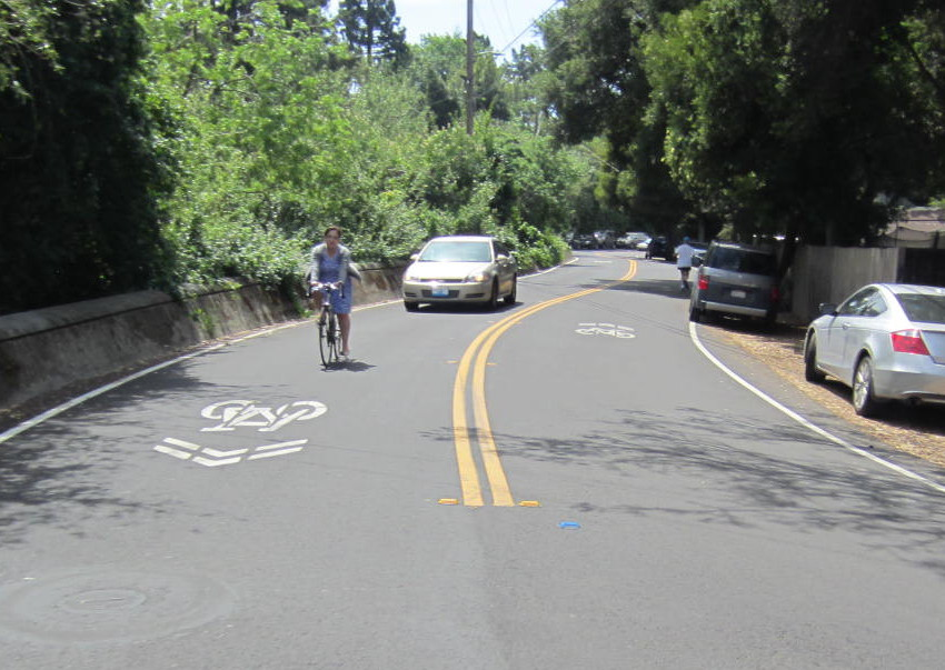 Sharrows on Woodland Avenue in East Palo Alto