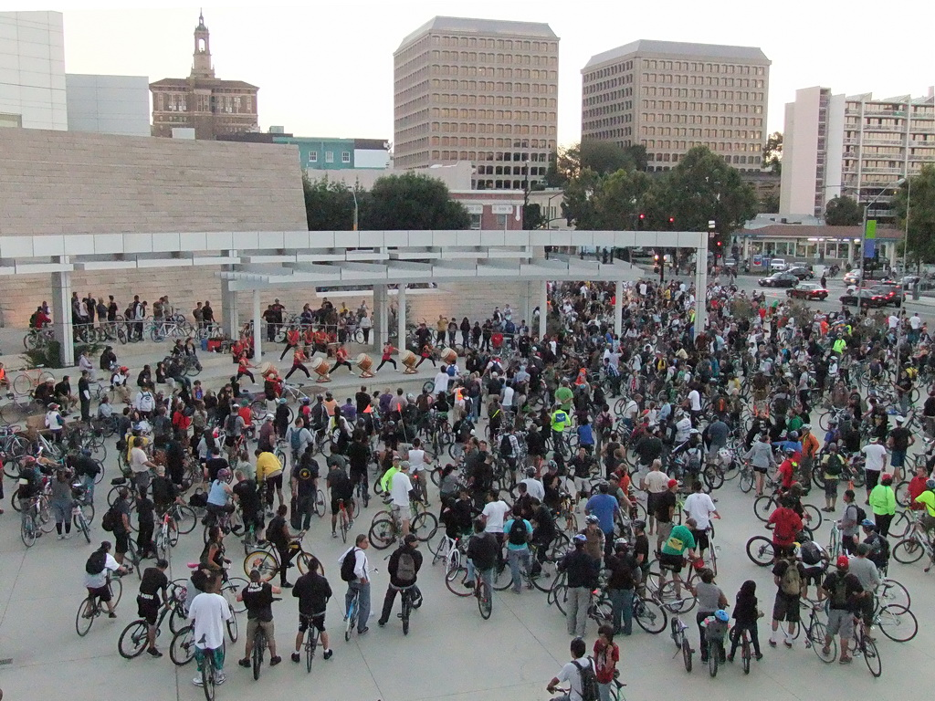 San Jose Bike Party gathers at City Hall in August 2010