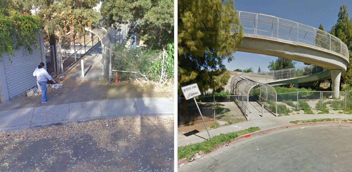 The Madden Avenue (left) and Sunset Avenue (right) ped bridges over Highway 680 include several hazards for cycling, including vertical curbs and bollards. Photos: Google Maps