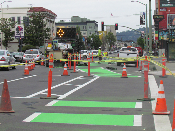 The lane markings are extended in some spots through the intersection.