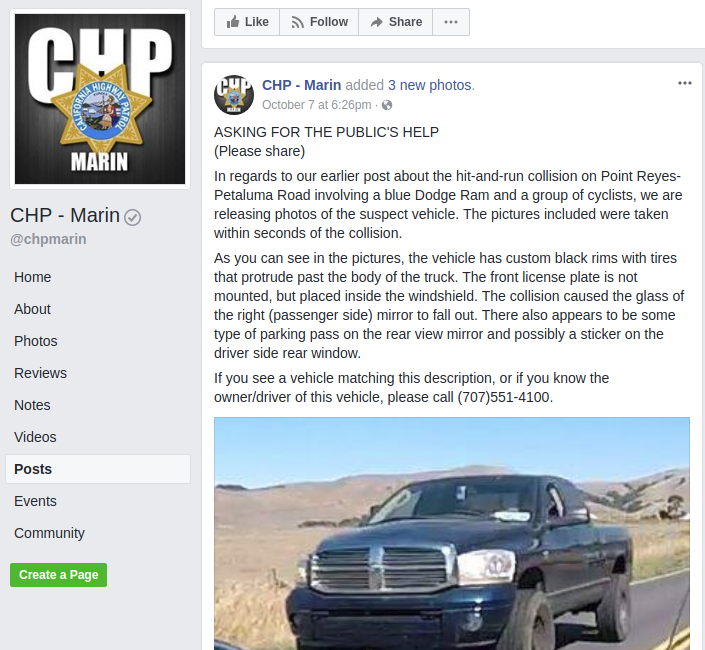 A screenshot from the California Highway Patrol's Facebook page.