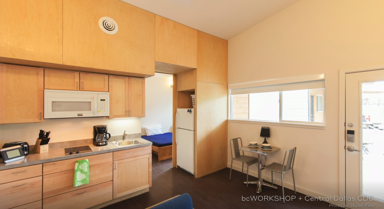 The interior of this Dallas transitional housing comes with a toothbrush and toothpaste waiting. Photo: John Cary's presentation