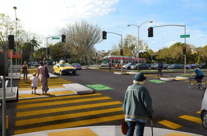 The Steiner over crossing will be removed and the street-level crossing will be greatly improved. Image: SFMTA