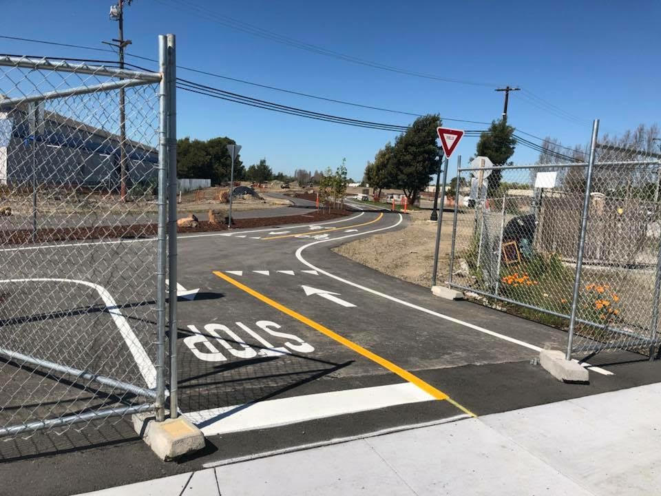 The bike path through Jean Sweeney park is done...but still fenced off, usually. Photo: Pete Grosser