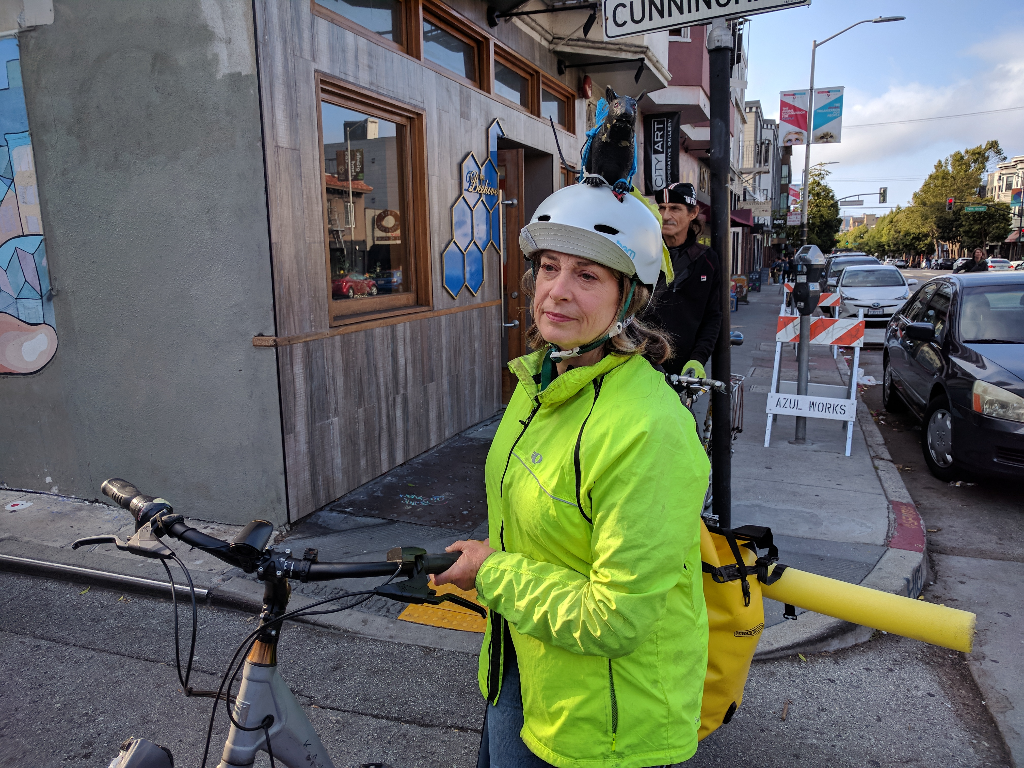 Rat-rider Maureen Persico, one of the original organizers of the people protected bike lane protests on Valencia