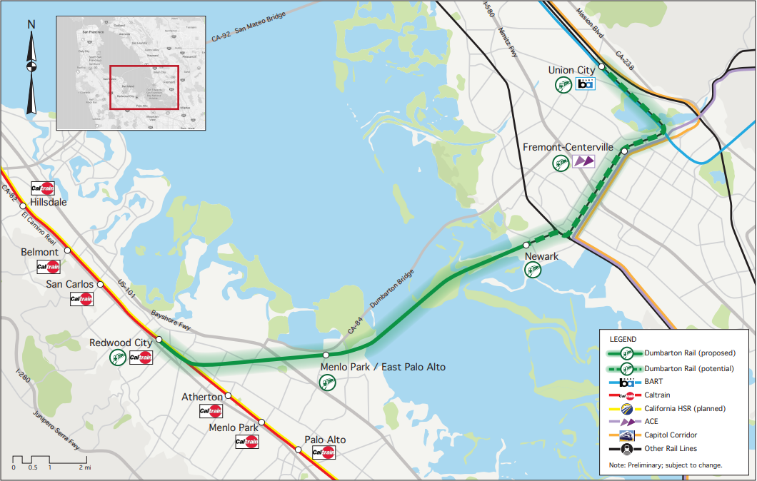 From a 2019 study done by Crossbay Transit Partners showing many of the rail connections with Dumbarton.