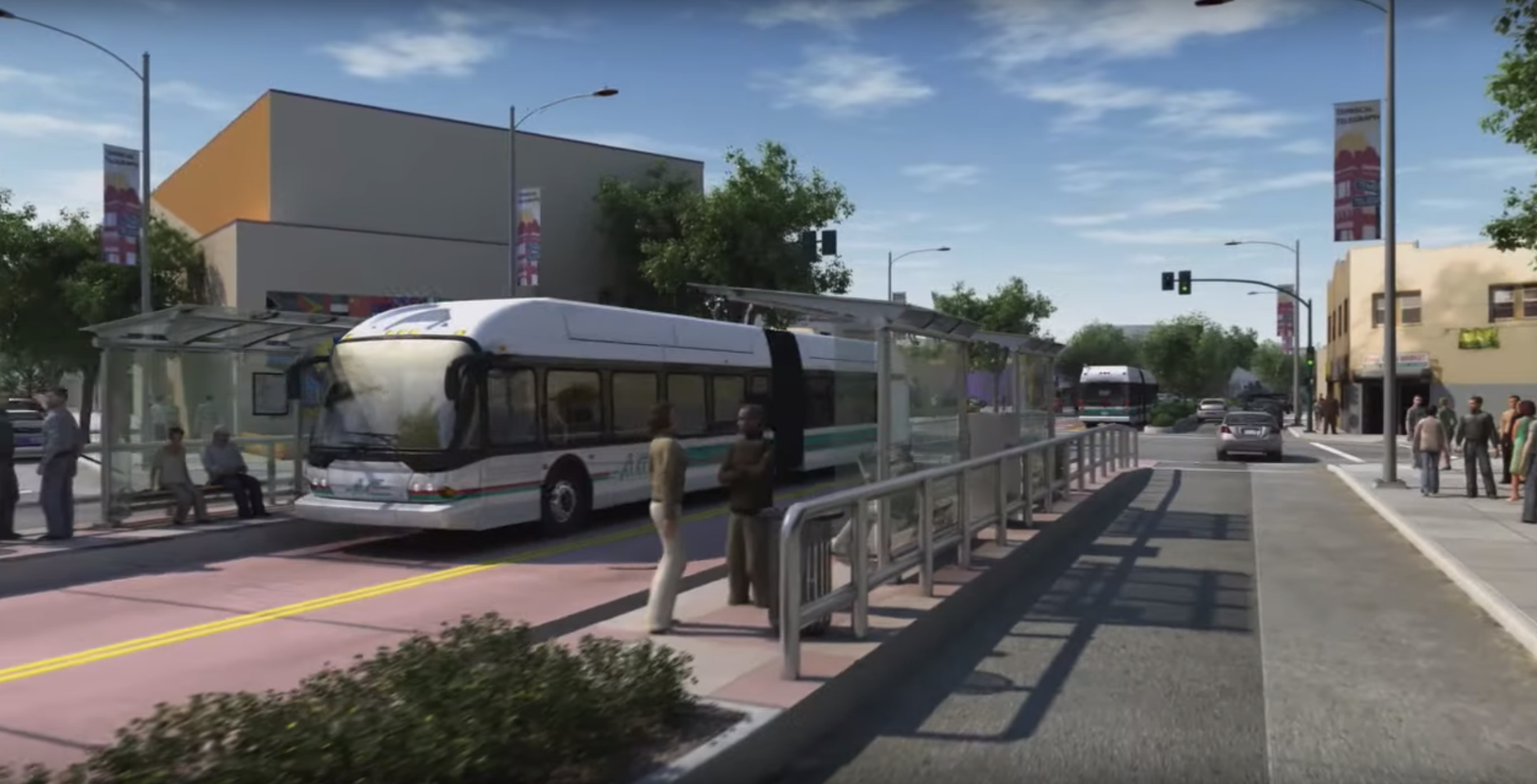 A rendering of Oakland's 'Bus Rapid Transit' project with buses and passengers. Image: AC Transit