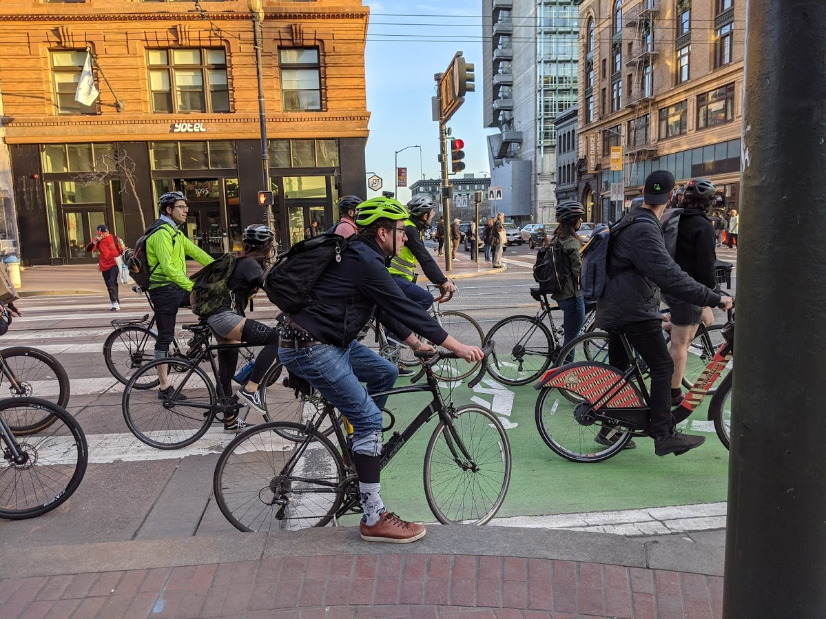 The view from Warm Planet and Huckleberry bikes of Market Street during rush hour. Photo: Streetsblog/Rudick