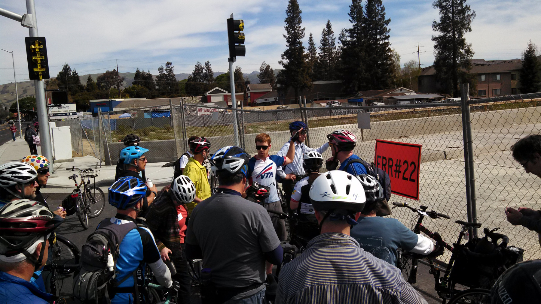 The Silicon Valley Bicycle Coalition discussing bike features at the Berryessa Station in 2014. Photo: SVBC