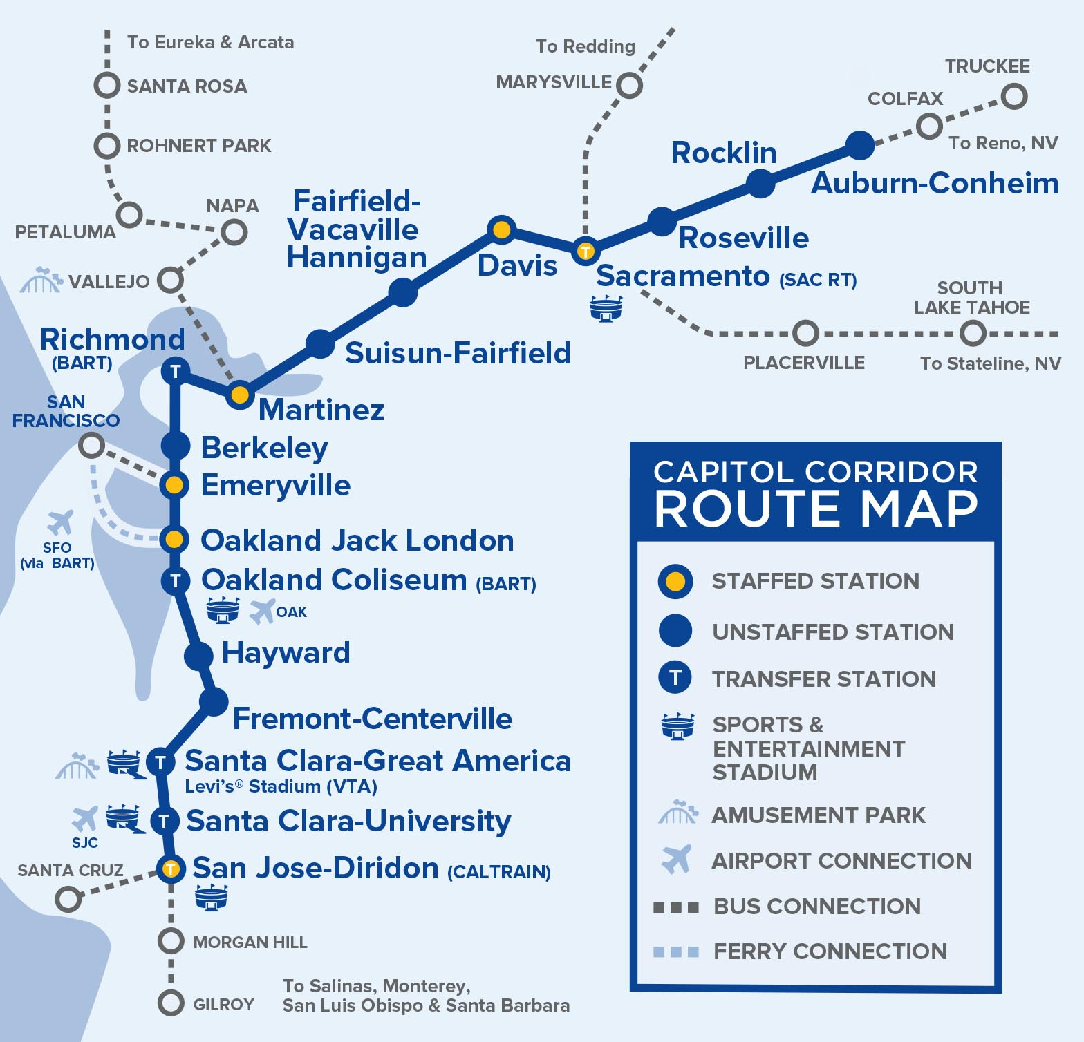 A map of the Capitol Corridor service. The bridge is between Martinez and Suisun-Fairfield stations. But it presents a choke point for the entire system.